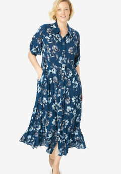 Crinkle Shirtdress, DARK COBALT WATERCOLOR FLORAL