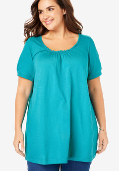 Perfect Shirred U-Neck Tunic,