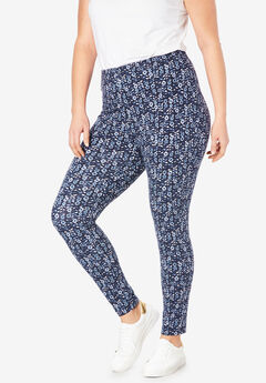 Stretch Cotton Printed Legging, NAVY LINEAR FLORAL