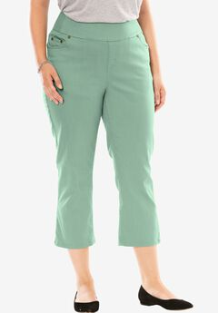 Smooth Waist Capri Jean, DUSTY JADE, hi-res