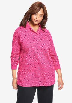 Long-Sleeve Tunic Polo Shirt,
