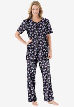Floral Henley PJ Set , BLACK BOUQUET