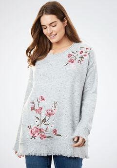Embroidered Bell Sleeve Sweater with Fringe,