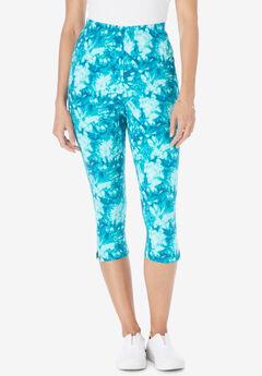 Stretch Cotton Printed Capri Legging, AQUAMARINE TIE DYE