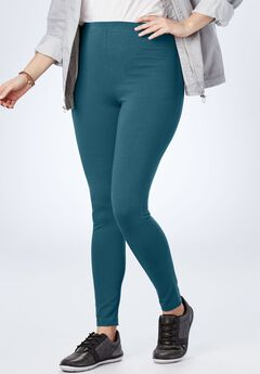 Stretch Cotton Legging, BLUE TEAL