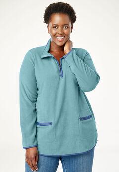 Quarter-Zip Microfleece Mock Neck Sweatshirt, DUSTY TEAL