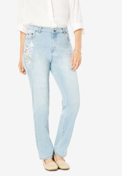 Straight Leg Stretch Jean, LIGHT WASH SANDED FLORAL EMBROIDERY