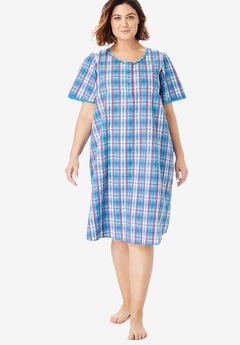 Short Seersucker Henley Nightgown by Dreams & Co.®,