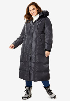 Hooded Faux Down Puffer Coat, BLACK