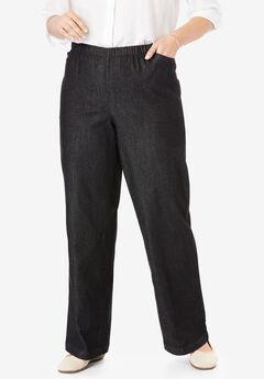 Wide Leg Fineline Jean, BLACK DENIM