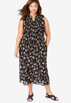 Sleeveless Pintuck Crinkle Dress, BLACK MIXED BOUQUET