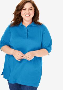 Short-Sleeve Tunic Polo Shirt, VIBRANT BLUE