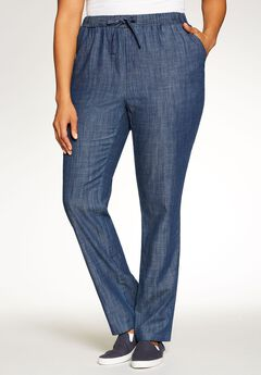 Chambray Drawstring Straight Leg,