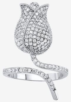 Platinum-Plated Round Flower Wraparound Ring Cubic Zirconia,