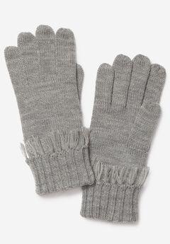 Fringed Knit Gloves,