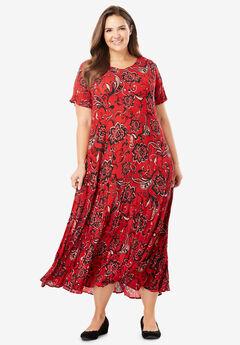 Crinkle Dress, RED FLORAL