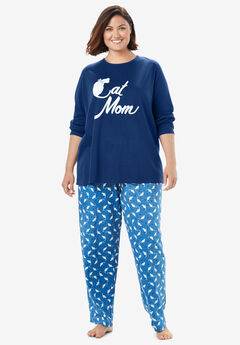 Long Sleeve Knit PJ Set by Dreams & Co.®, EVENING BLUE CAT MOM