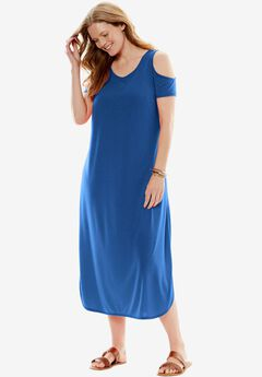 Cold-Shoulder A-Line Dress,