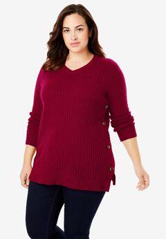 Button V-Neck Sweater, RICH BURGUNDY