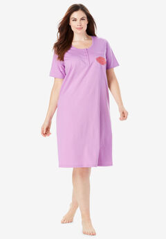 Cotton Sleepshirt by Dreams & Co.®, LIGHT ORCHID KISS