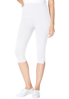 Stretch Cotton Capri Legging, WHITE
