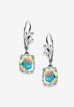 Sterling Silver Drop Earrings, Oval Aurora Borealis Cubic Zirconia,