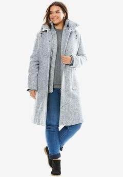 Wool Layered Winter Coat, HEATHER GREY TWEED, hi-res