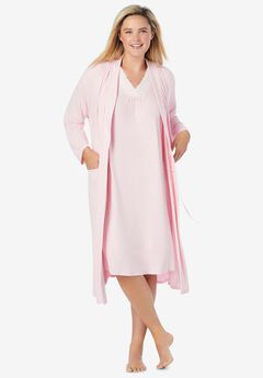Knit Gown and Robe Set, PINK