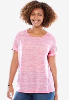 Marled knit T-shirt, PASSION PINK MARLED, hi-res