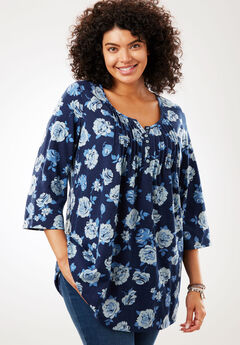 Pleated Floral Henley Tunic, NAVY ROSE, hi-res