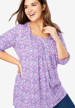 Pleated Floral Henley Tunic,