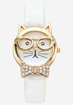 Cat Watch Round Crystal ,