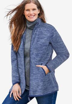 Zip-Front Microfleece Jacket, BLUE MARLED