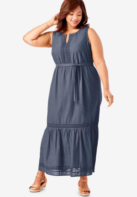 Crochet Trim Tiered Sleeveless Maxi Dress