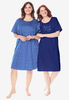2-Pack Short-Sleeve Sleepshirt by Dreams & Co.®, EVENING BLUE PAJAMAS