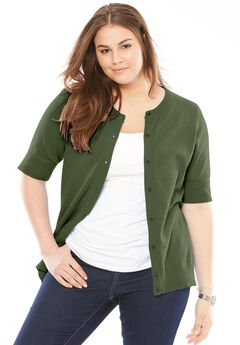Perfect Elbow-Length Sleeve Cardigan, FOREST GREEN
