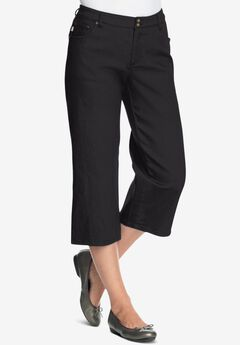Tummy Tamer Capri Jean, BLACK DENIM
