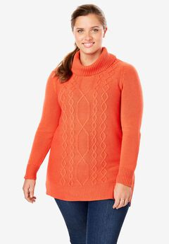 Mixed Cable Turtleneck Sweater,