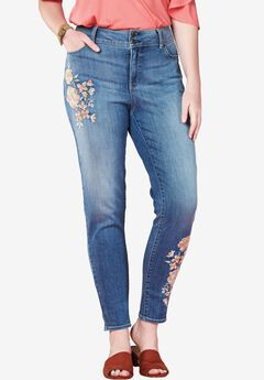 Skinny Floral Jeans by Chelsea Studio®, EMBROIDERED KENYON WASH, hi-res