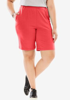 Stretch Cotton Easy Short, CORAL RED, hi-res