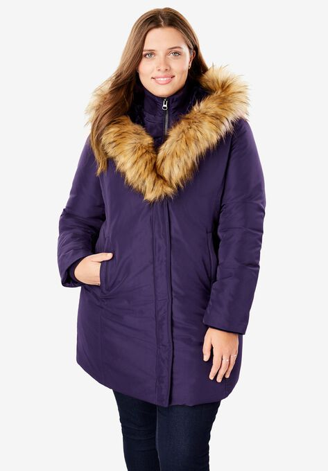 cccb1614697 Fur-Lined Hooded Faux Down Coat