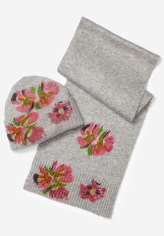 Floral Beanie and Scarf Set,