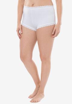 Comfort Choice® Lace-trim Cheeky Boyshort, WHITE, hi-res