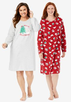 2-Pack Long-Sleeve Sleepshirts ,