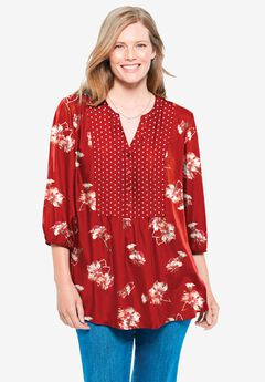 Elastic-Cuff Mixed Print V-Neck Tunic,