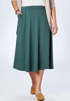 7-Day Knit A-Line Skirt, DARK PINE