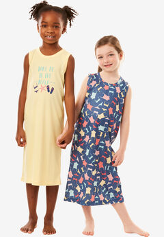 2-Pack Kids' Sleeveless Sleepshirts by Dreams & Co.®, NAVY SWIM SUIT, hi-res