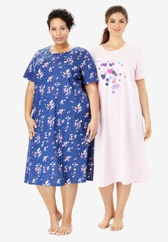 2-Pack Long Sleepshirts by Dreams & Co.®, PINK CLUSTER HEARTS