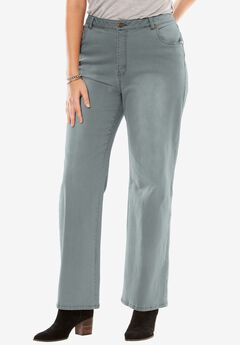 Wide Leg Stretch Jean, GREY, hi-res