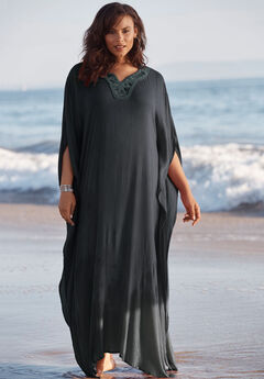 Long Embellished Cover Up ,
